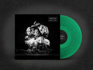 Darstellung der Volk-Off Schallplatte mit grünem Vinyl